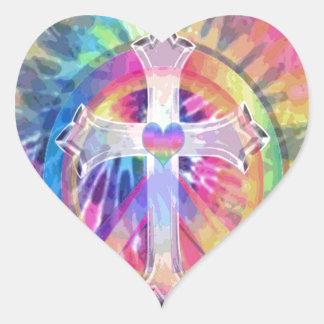 Cruz da tintura do laço adesivo coração
