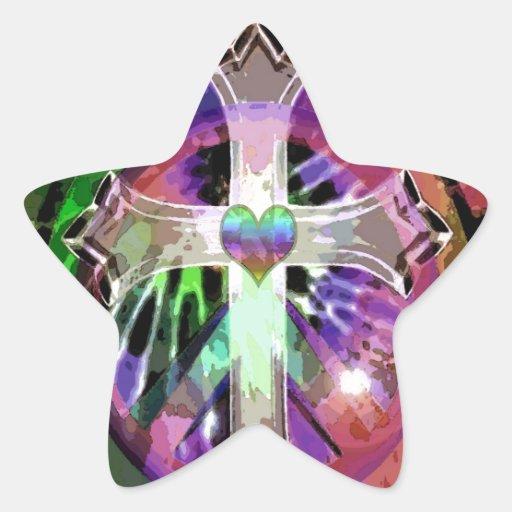 Cruz da tintura do laço do coração adesivo em forma de estrela