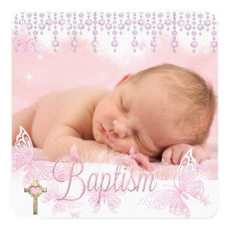 Cruz de prata cor-de-rosa da borboleta do baptismo convite quadrado 13.35 x 13.35cm
