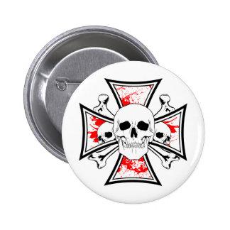 Cruz do ferro com crânios e ossos da cruz botons