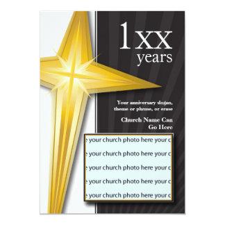Cruz do ouro do aniversário da igreja convite 12.7 x 17.78cm