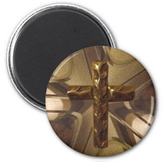 Cruz do ouro ímã redondo 5.08cm