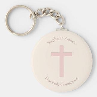 Cruz do rosa Pastel do comunhão Chaveiro