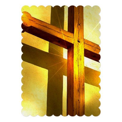 Cruz dourada convite personalizado