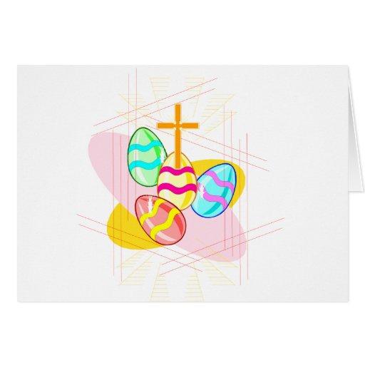 Cruz e ovos da páscoa cartões