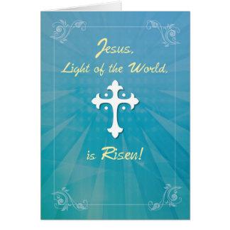 Cruz e raios religiosos da páscoa na cerceta cartão comemorativo
