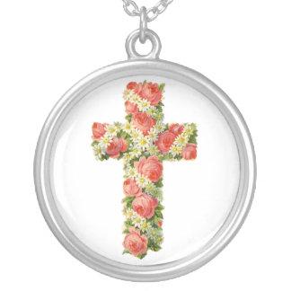 Cruz floral colar com pendente redondo