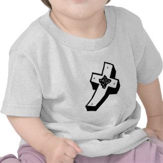 Cruz floral encaixotada camiseta