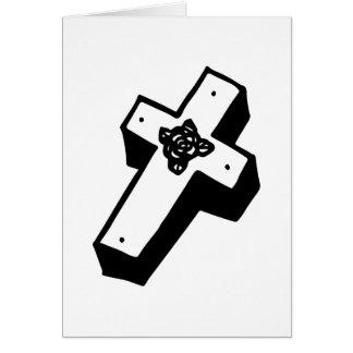 Cruz floral encaixotada cartao