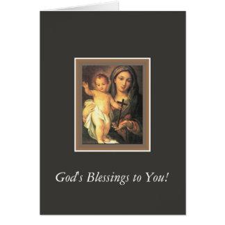 Cruz infantil abençoada do cristo de Madonna da Cartão Comemorativo
