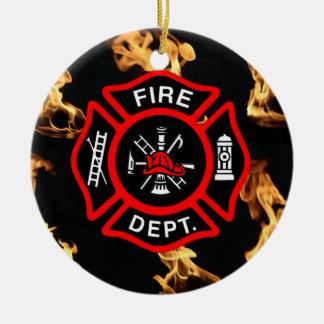 Cruz maltesa do departamento do fogo do bombeiro ornamento de cerâmica