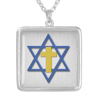 Cruz messiânica com estrela de David Colar Banhado A Prata