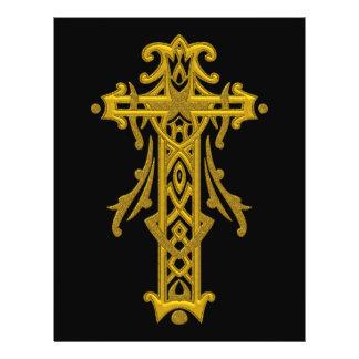 Cruz ornamentado cristã 20 panfleto personalizados