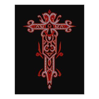 Cruz ornamentado cristã 22 modelo de panfleto