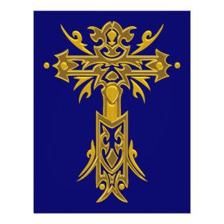 Cruz ornamentado cristã 27 panfletos personalizado