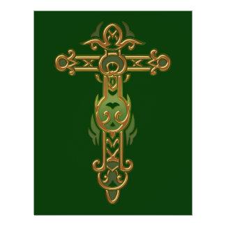 Cruz ornamentado cristã 31 modelo de panfletos