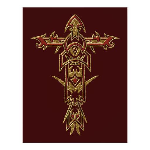 Cruz ornamentado cristã 33 panfletos coloridos