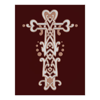 Cruz ornamentado cristã 38 flyer 21.59 x 27.94cm