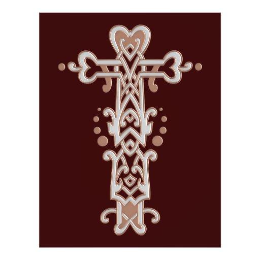 Cruz ornamentado cristã 38 panfletos personalizados