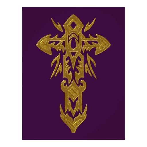 Cruz ornamentado cristã 39 panfletos personalizado