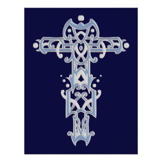 Cruz ornamentado cristã 40 panfletos personalizados