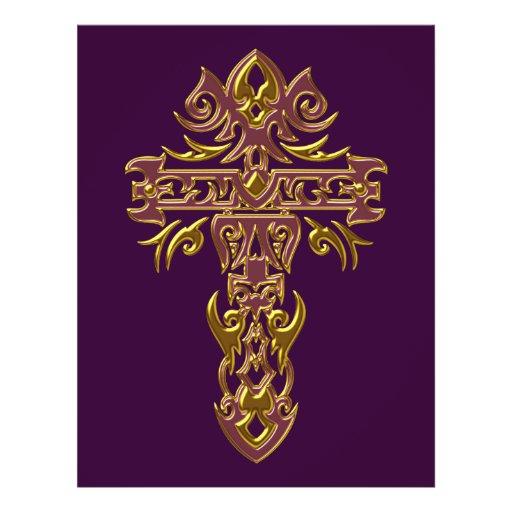 Cruz ornamentado cristã 48 panfletos coloridos