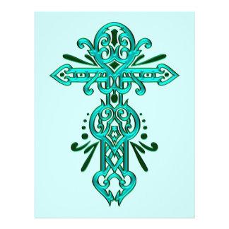 Cruz ornamentado cristã 56 panfleto personalizado