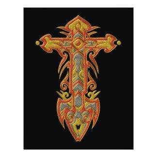 Cruz ornamentado cristã 59 panfleto personalizado