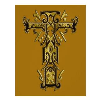Cruz ornamentado cristã 5 modelo de panfleto