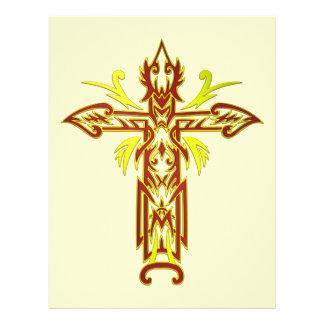 Cruz ornamentado cristã 63 panfletos personalizado