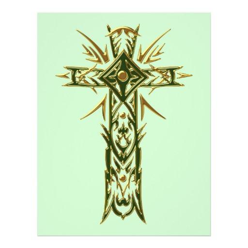 Cruz ornamentado cristã 68 modelo de panfleto