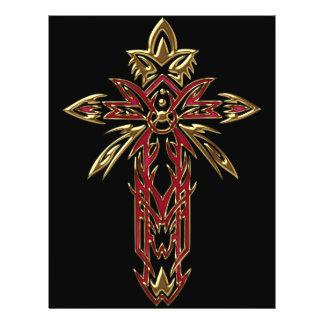 Cruz ornamentado cristã 74 panfleto personalizados