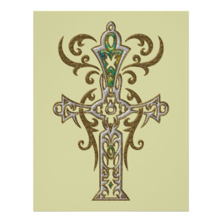 Cruz ornamentado cristã 76 panfletos personalizados