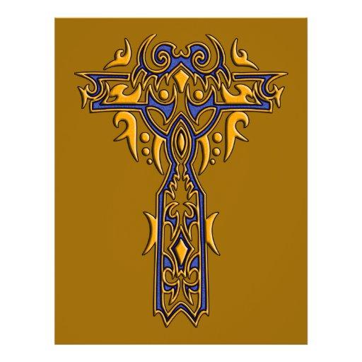 Cruz ornamentado cristã 8 panfletos personalizados