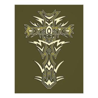 Cruz ornamentado cristã panfleto personalizado