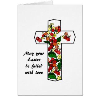 Cruz religiosa da páscoa com cartão das flores