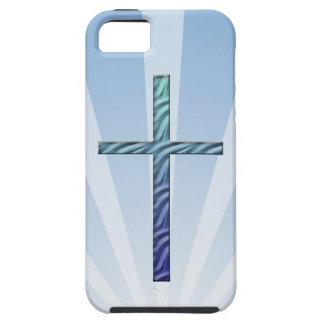 Cruz-Religioso Rippled azul Capas Para iPhone 5