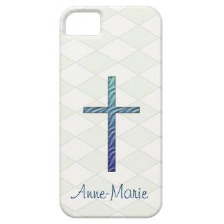 Cruz-Religiosos Rippled azul/personalizam o nome Capa Para iPhone 5