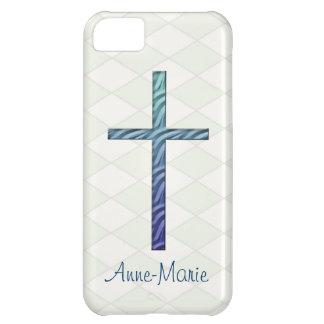 Cruz-Religiosos Rippled azul/personalizam o nome Capa Para iPhone 5C