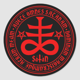 Cruz satânica com texto e Pentagrams da satã da Adesivo
