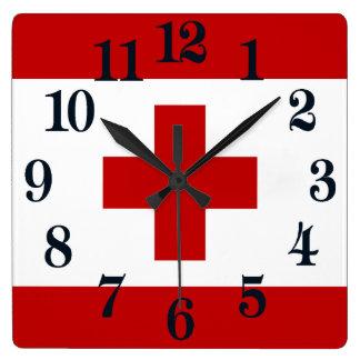 Cruz vermelha da bandeira da ilha de Tonga Relógio Quadrado