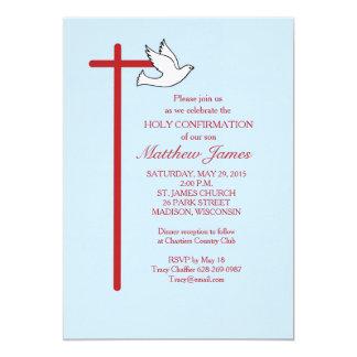 Cruz vermelha do convite da confirmação & pomba,