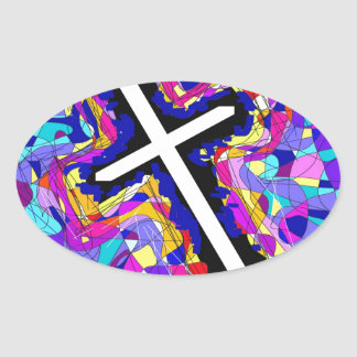 Cruz vibrante do vitral adesivos oval