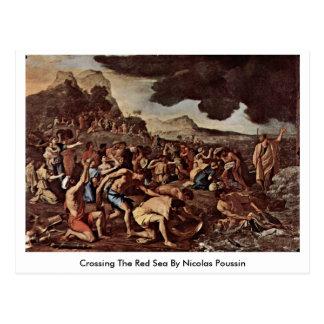 Cruzando o Mar Vermelho por Nicolas Poussin Cartão Postal