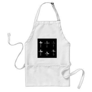 Cruzes cristãs de prata no design diferente avental