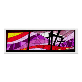 Cruzes da arte três do poster do vitral da páscoa