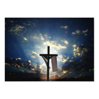 Cruzes e cenas de domingo da páscoa e de palma convite personalizado