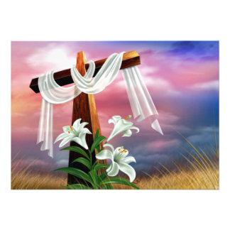 Cruzes e cenas de domingo da páscoa e de palma convites personalizado
