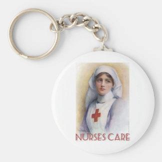 Cuidado das enfermeiras chaveiro