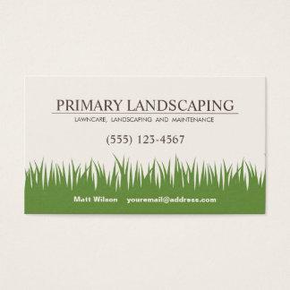 Cuidado do gramado que ajardina a grama dos cartão de visitas